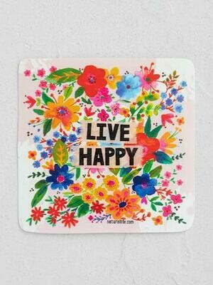 Live Happy Floral Sticker