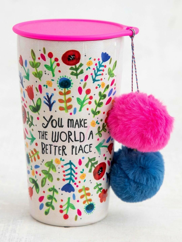 World a Better Place Pompom Tumbler