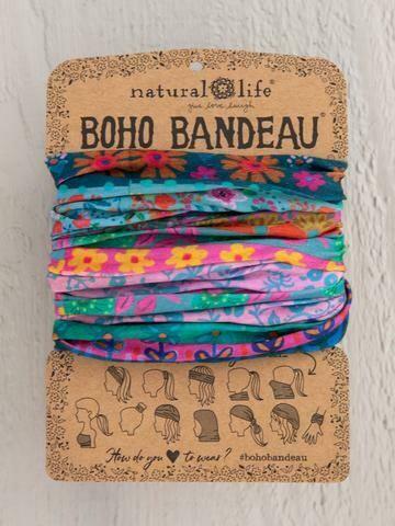 Blue Pink Borders Boho Bandeau