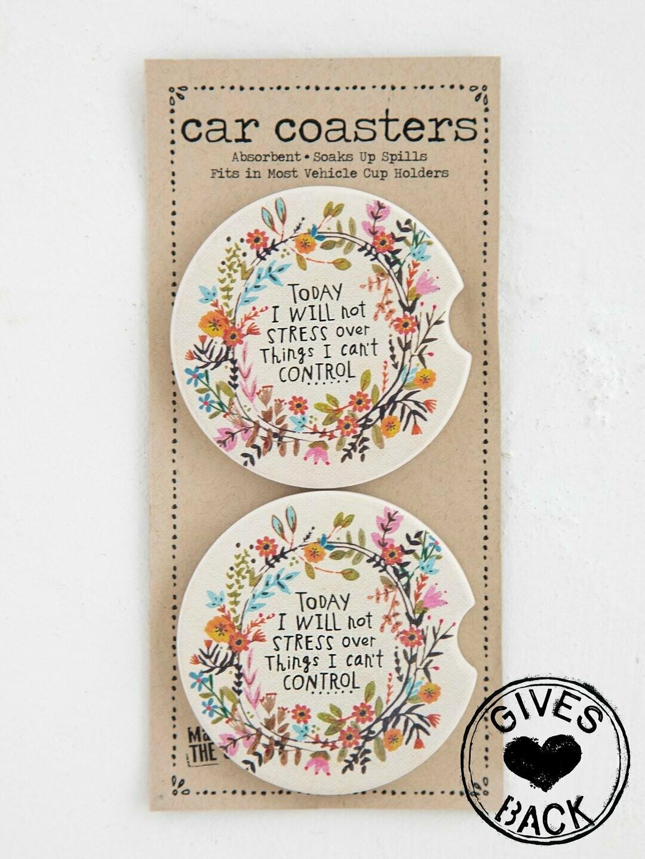 Today I Will Not Stress Car Coaster Set of 2