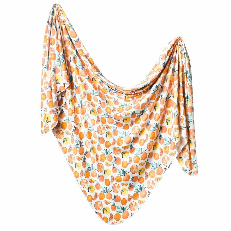 Single Knit Swaddle Blanket Citrus