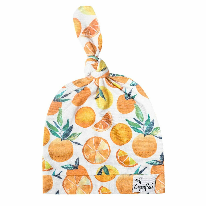 Newborn Top Knot Hat - Citrus