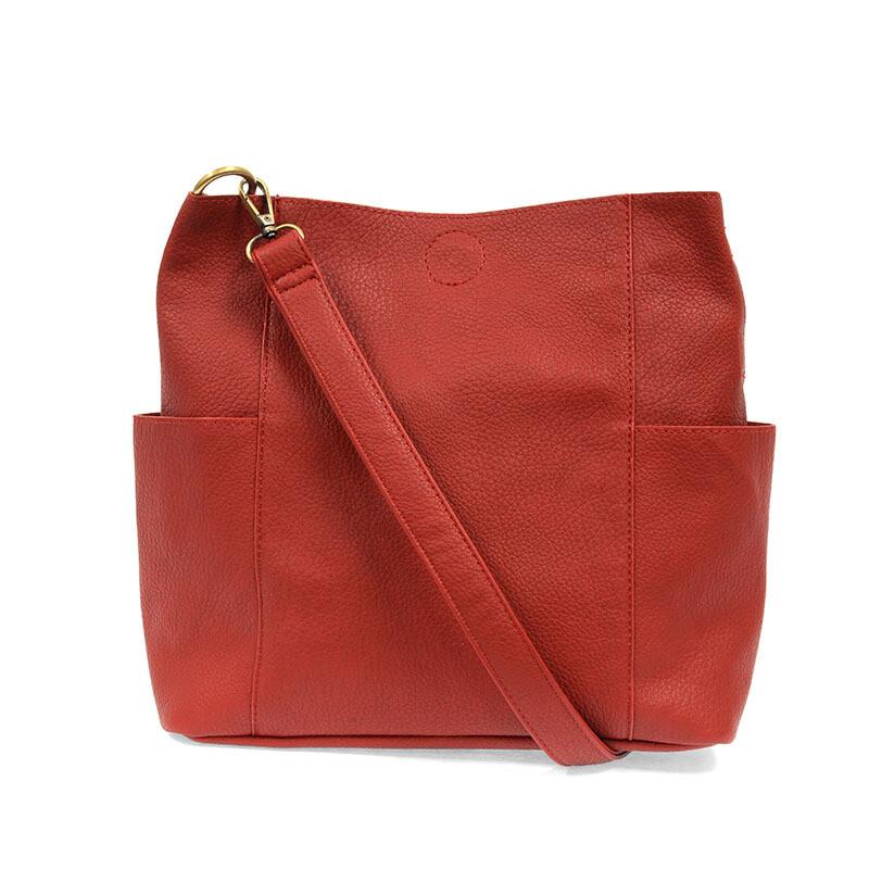 Red Kaleigh Side Pocket Bucket Bag