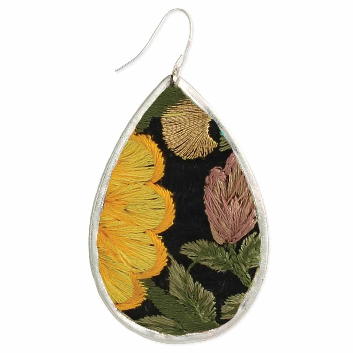 BK YLW Embroidered Earring