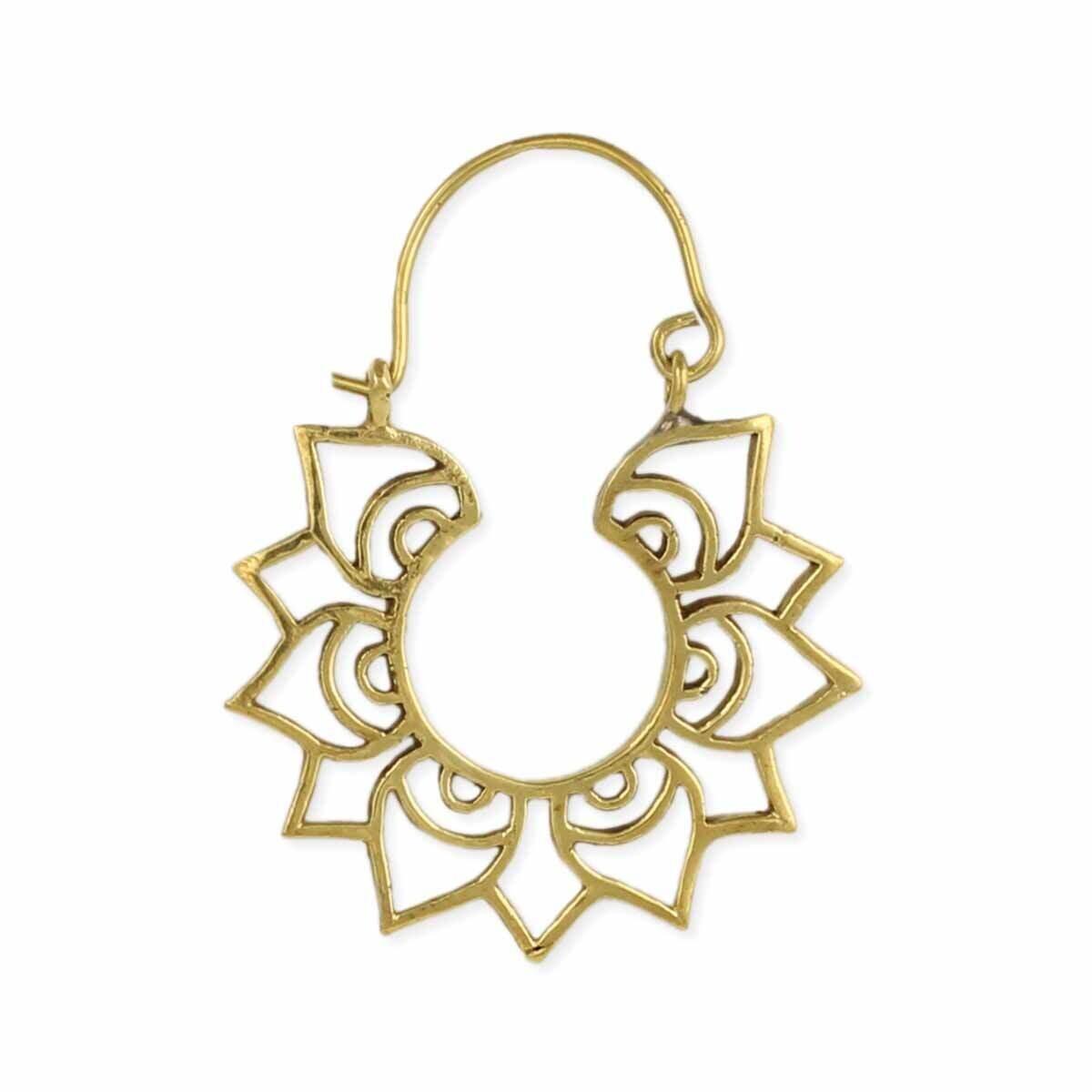 Gold Lotus Hoop Earring