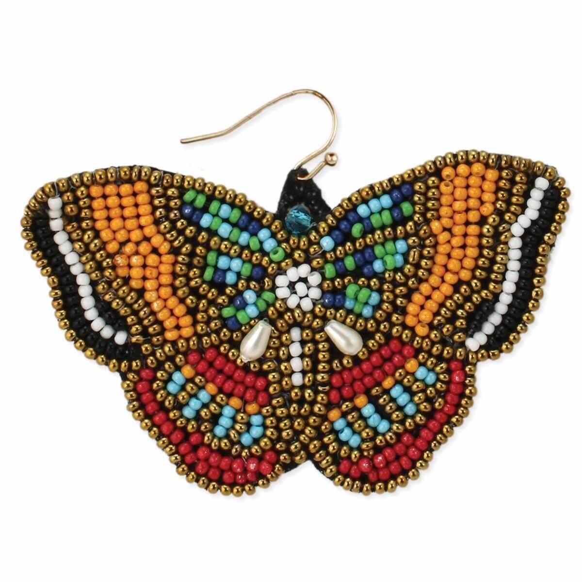 YL BK RD Beaded Butterfly Earring