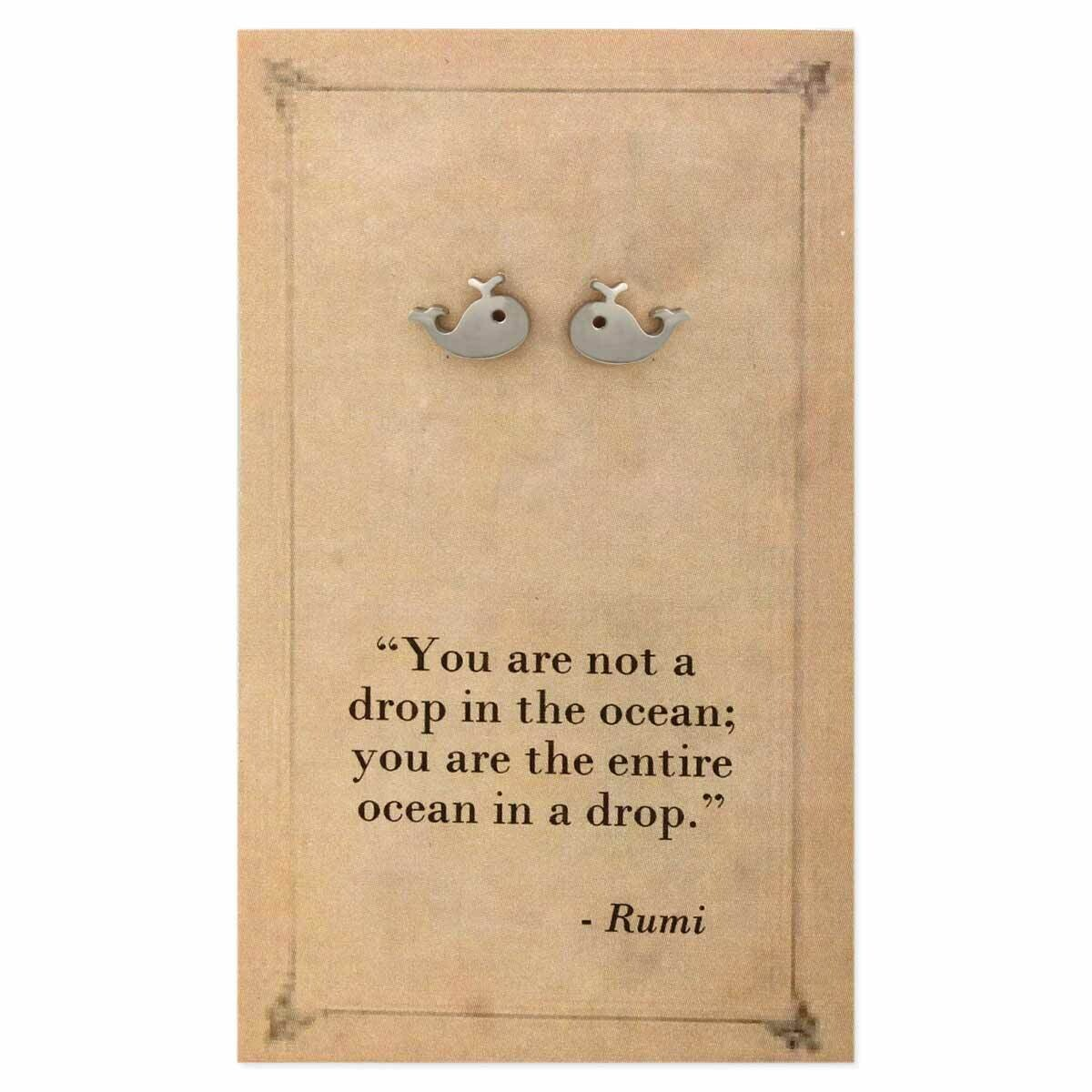 Silver Whale Literary Post Earring