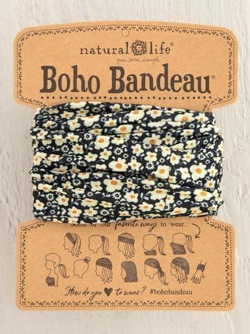 Black Cream Floral Print Full Boho Bandeau