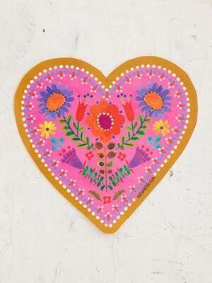 Heart Floral Vinyl Sticker