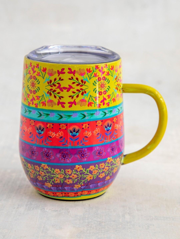 Border Print Stainless Steel Coffee Tumbler