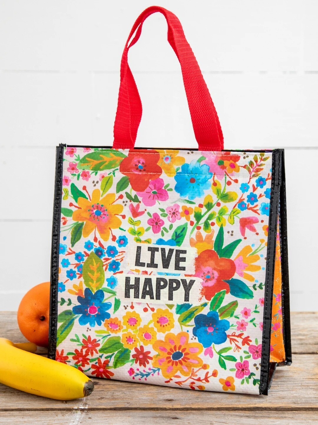 Live Happy Floral Insulated Lunch Bag