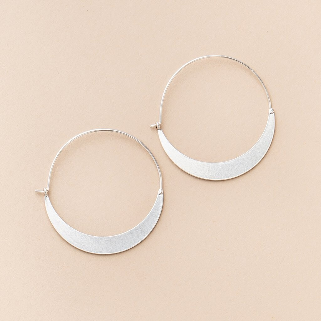 Crescent Hoop Silver Earrings