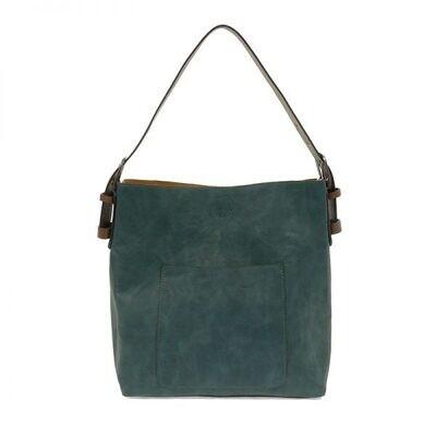 Dark Turq Hobo Coffee Handle Silver Buckle Handbag