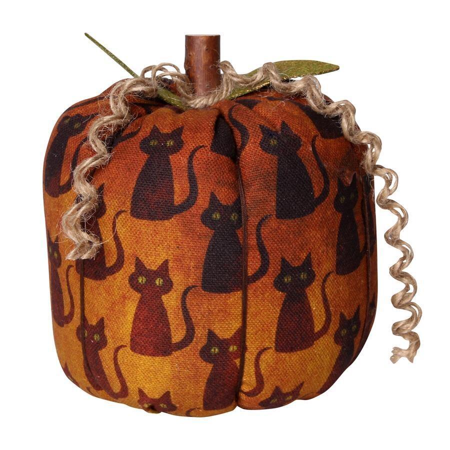 Large Black Cat Fabric Pumpkin