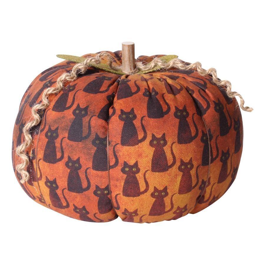 XL Black Cat Fabric Pumpkin