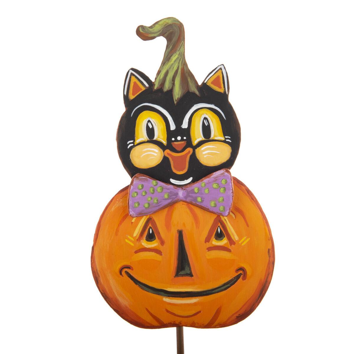 Vintage Cat in Pumpkin Garden Stake
