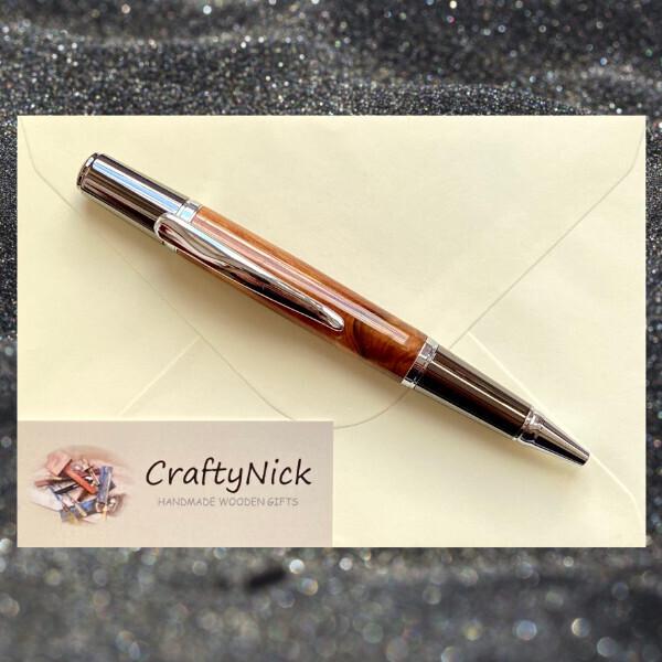 Sirocco Twist Pen In Chrome & Thuya Burr