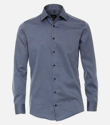 Strijkvrij overhemd staalblauw