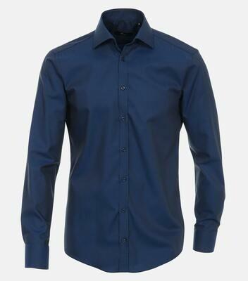 Strijkvrij overhemd donkerblauw