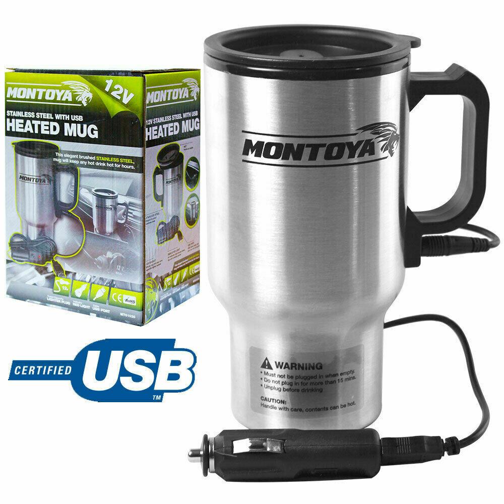 12v Stainless Steel Hot Mug Car Van Caravan Thermal Heat Travel Cup Kettle USB