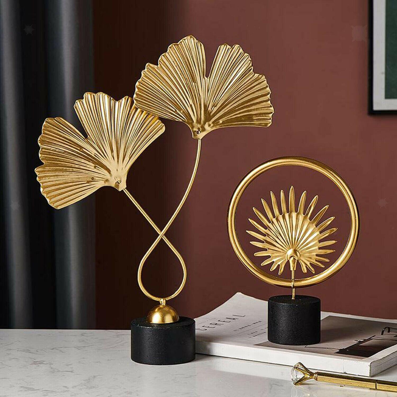 2 Pieces Leaves Sculpture Ornament Figurine Statue Desktop Table Artwork