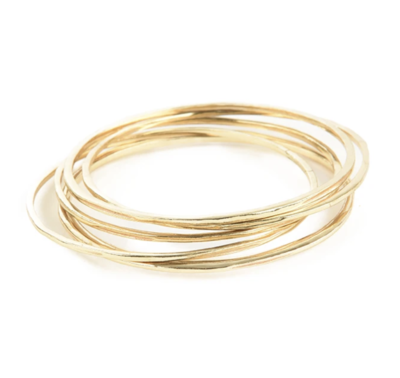 Simple Set Of 6 Brass Bangles