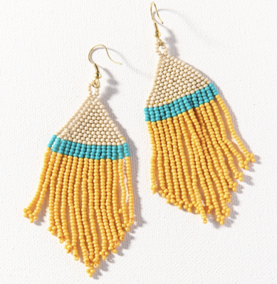 Mustard Turquoise Ivory Stripe Seed Bead Earring