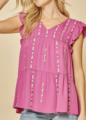 Marla Pink Embroidered Top