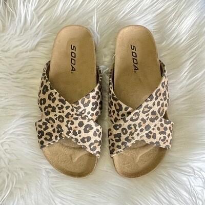 Maggie Leopard Slip On Sandals