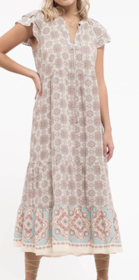 Juliet Boho Flutter Sleeve Midi Dress