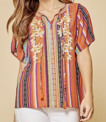 Shiloh Printed Top with Embroidery