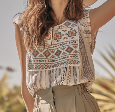 Hana Striped Top with Aztec Embroidery