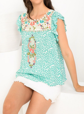 Skyler Dotted Embroidered Top