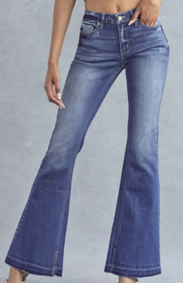 Brynn Mid Rise Hem Detail Flare by Kan Can