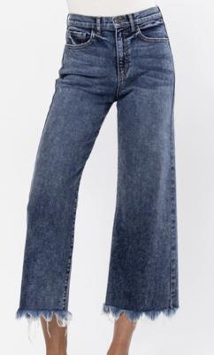 Kelsey Cropped Jeans w/ Fringe Hem by Sneak Peek