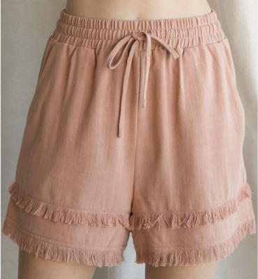 Kensey Linen Shorts with Frayed Hemline