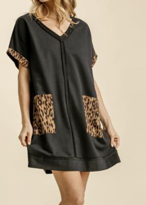 Devyn French Terry Dress w/ Leopard Pockets