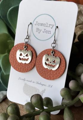 Orange with Pumpkin Charm Earrings