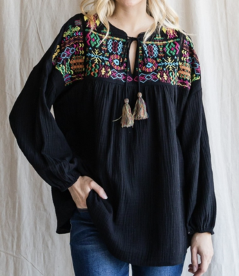 Clare Black Top w/ Embroidery