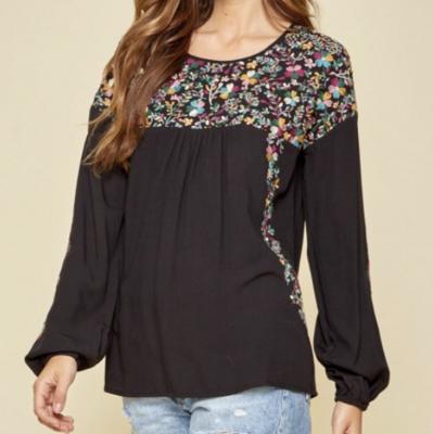 Melissa Black Embroidered Top