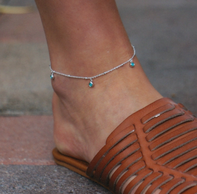 3 Stone Turquoise Anklet