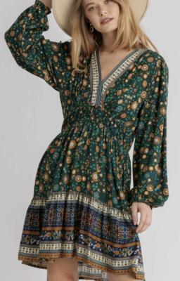 Emerald Floral Puff Sleeve Dress
