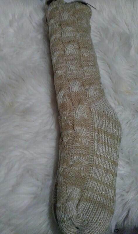 Bee & Willow Slipper Socks (tan and white)
