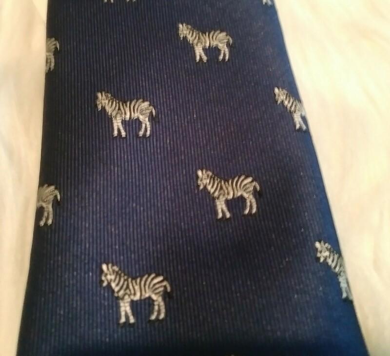 Navy Blue Zebra Tie