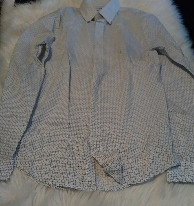 Express Men's Extra Slim Small White/Bubble Button Down Shirt