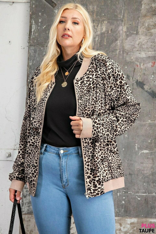 Curvy Leopard Bomber Jacket
