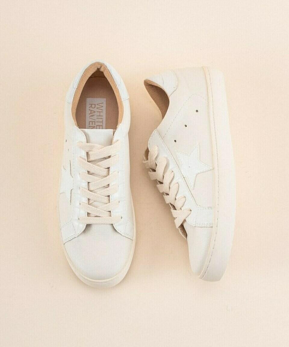 White Print Star Sneaker