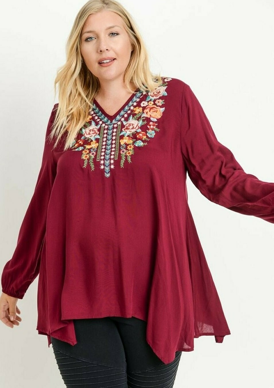 Curvy Embroidered Top