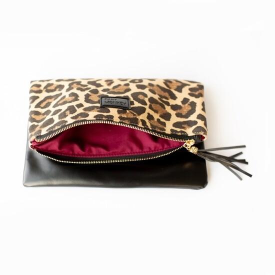 Foldover Clutch, Leopard