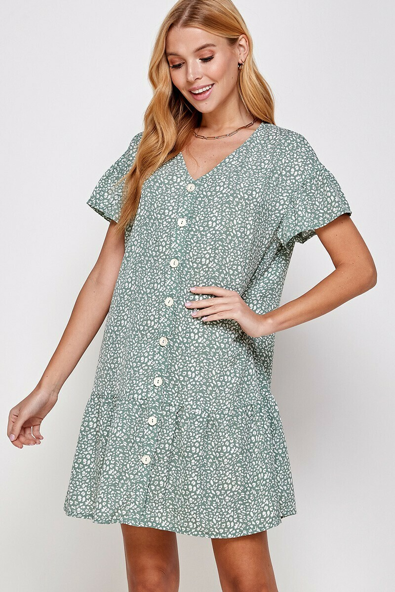 Sage Button Dress